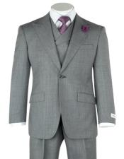 Classic Fit Suit 3 Piece Gray Birdseye Wide Leg  Pure Wool