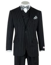 Lapel Double breasted Vest Classic Fit 3 Piece Black Pin-Stripe Wide