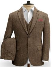 Tweed 3 Piece Suit - Tweed Wedding Suit Mens Tweed Suit Rust