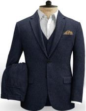 Tweed 3 Piece Suit - Tweed Wedding Suit Herringbone Slim Fitted Tweed