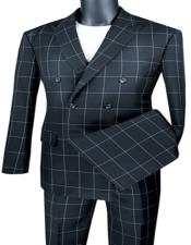 Breasted Checkered Suit Modern Fit Black  Plaid Windowpane Vinci Wool Fabric