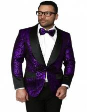 and Black Tux Blazer Floral Shiny Flashy Silky Stage Fancy Party Party Dance Paisley Smoking Sport Coat