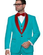 Turquoise One Button Wedding ~ Prom Vested 3 Piece Suit