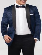 Navy Blue Paisley Velvet Fabric Tuxedo Jacket Perfect For Wedding or Prom