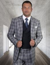 Windowpane Vested 3 Piece Checkered Suit Double Breasted Suit Navy