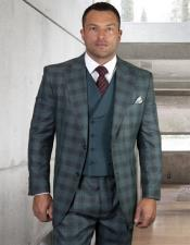 Classic Fit Suit Mens Jade Plaid Windowpane Vested 3 Piece Suit
