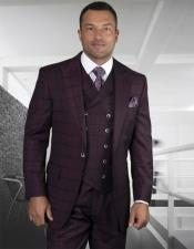 Windowpane Vested 3 Piece Checkered Suit Double Breasted Suit Burgundy