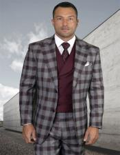 Mens Plaid Suit Classic Fit Suit Mens Burgundy Double Breasted Vest Pleated