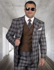 Mens Plaid Suit Classic Fit Suit Mens Copper Wool Side Vents Vest