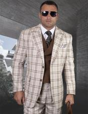 Mens Plaid Suit Classic Fit Suit Mens Tan Side Vents Vest Double