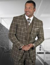 Mens Plaid Suit Classic Fit Suit Mens Fronze Wool Side Vents Vest