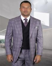 Mens Plaid Suit Classic Fit Suit