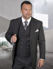 Classic Fit Suit Mens Grey Side Vents Vest Double Breasted Jacket