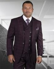 Mens Plaid Suit Classic Fit Suit Burgundy Super 150s 100% Wool Pants