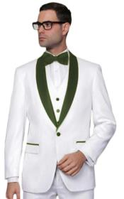 ~ Prom White Tuxedo with Color Lapel Vested 3 Piece Suit