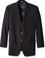 Mens Classic Portly Blazer Solid Black Executive Fit Suit - Mens Portly