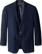 Mens Classic Portly Blazer Solid Navy Executive Fit Suit - Mens Portly