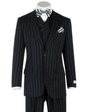 1920s Mens Gangster Bold Black Chalk Pinstripe with Double Breasted Vest Wool