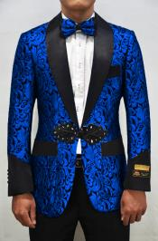 Nardoni Dinner Smoking Jacket Blazer Sport Jacket Paisley ~ Floral ~ Fashion Prom Pattern Silver ~ Black