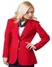 Button Notch Lapel women Blazer In Red