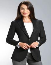 Button Black Notch Lapel Women Blazer