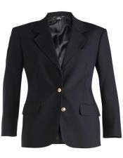 Button Navy Notch Lapel Women Blazer