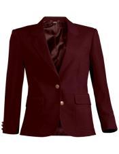 Button Burgundy Notch Lapel Women Blazer