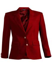 Button Red Notch Lapel Women Blazer