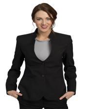 Button Black Solid Pattern Notch Lapel Women Blazer