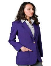 Button Purple Solid Pattern Notch Lapel Women Blazer