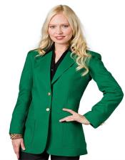 Button Kelly Green Solid Pattern  Women Blazer