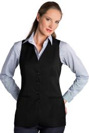 Button Solid Pattern Black Notch Lapel Women Vest Sleeveless Blazer