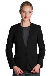 Button Solid Pattern Notch Lapel Women Black Blazer
