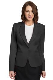Button Solid Pattern Notch Lapel Women Charcoal Blazer