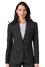 Button Solid Pattern Notch Lapel Women Blazer In Charcoal