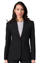 Button Single Breasted Solid Pattern Notch Lapel Women Blazer In Black