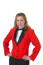 Button Single Breasted Solid Pattern Shawl Lapel Women Blazer In Red