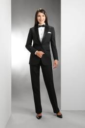 Button Single Breasted Womens Fit Notch Lapel Women Blazer In Black