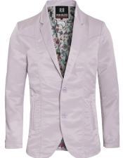 Mens Slim Fit Western Blazer Sport Coat Silver