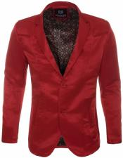 Slim Fit Western Blazer Sport Coat Red