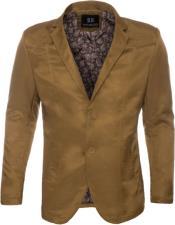 Mens Slim Fit Western Blazer Sport Coat Khaki