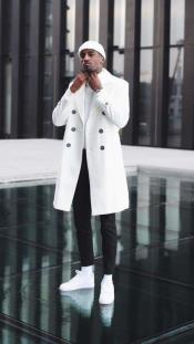 Pre order for September/30/2021 Mens Cashmere & Wool White Double Breasted Overcoat