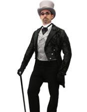 Tailcoat Black Paisley Fabric Tail Tuxedo Wedding Tux Vested 3Pc Suit