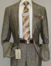 Brown ~ Taupe Color Linen Suit Plus Size Mens Suits For