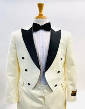 Mens Fashion Tailcoat Tuxedo Morning Suit Tux Color Wool Fabric By Alberto Nardoni Ivory ~ Cream ~