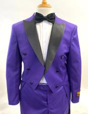 Mens Fashion Tailcoat Tuxedo Morning Suit Tux Color Wool Fabric By Alberto Nardoni Purple and Black Color
