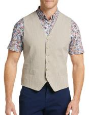 Button Besom pocket mens Slim Fit Seersucker Vest In Tan