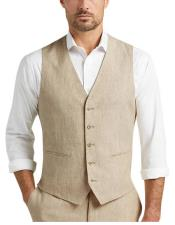 Button Besom pocket mens Tan Chambray Slim Fit Suit Separates Vest