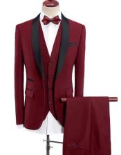 Wine Red Four-Button Shawl Lapel One Button Tuxedos  - Red