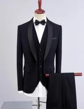 Black One Button Shawl Lapel Three Piece Suit